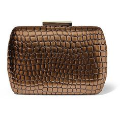 Steven By Steve Madden Lush Minaudiere ($26) ❤ liked on Polyvore featuring bags, handbags, clutches, bronze, clasp purse, brown purse, clasp handbag, brown handbags and crocodile purse