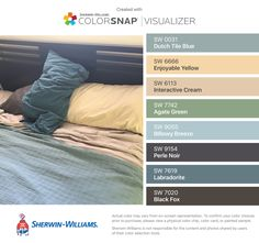 I found these colors with ColorSnap® Visualizer for iPhone by Sherwin-Williams: Dutch Tile Blue (SW 0031), Enjoyable Yellow (SW 6666), Interactive Cream (SW 6113), Agate Green (SW 7742), Billowy Breeze (SW 9055), Perle Noir (SW 9154), Labradorite (SW 7619), Black Fox (SW 7020).