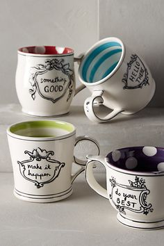"""Something Good"" ""Do you best"" ""Make it happen"" ""Hello There"" LOVE these mugs! These make GREAT gifts!"