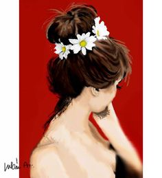 red, girl, daisy - Annamária Urbán