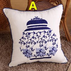 Embroidered throw pillow for home decoration Chinese style Blue and white porcelain sofa cushion