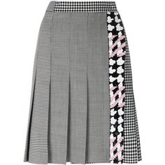 MSGM check pleated skirt (2,605 SAR) ❤ liked on Polyvore featuring skirts, black, checkerboard skirt, checked pleated skirt, msgm, knee length pleated skirt and msgm skirt