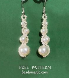 Free pattern for earrings White Moon  Seed Bead Tutorials