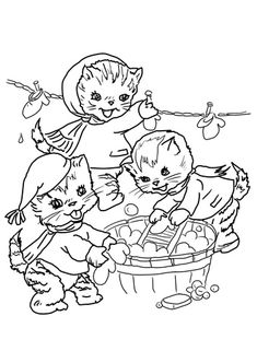 the three little kittens they washed their mittens coloring page from mother goose nursery rhymes category