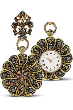 FREUNDER - GOLD AND ENAMEL OPENFACE KEYWOUND POCKET WATCH WITH BROOCH, NO. 1879, CIRCA 1830