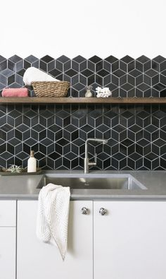 Did you know that the average American spends 67 hours a year doing laundry? Transform this chore into a peaceful activity by beautifying your space with tile. Shelving Design, Open Shelving, Laundry Room Tile, Dog Washing Station, Buy Tile, Multipurpose Room, Black Tiles, Tile Projects, Doing Laundry