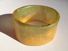 Handmade Gold and Green Funky Wide Resin Bangle on Etsy, $29.00 AUD