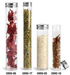 Plastic Tubes, Clear PET Round Tubes w/ Silver Metal Screw Caps - Fun for aromatherapy salts - www.usepureoils.com