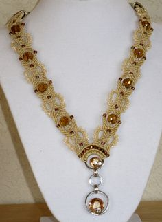 Amber macrame necklace-my design