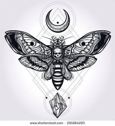 Deaths head hawk moth with moons and stones Design tattoo art Isolated vector illustration Trendy Vintage style element Dark romance, philosophy, spirituality, occultism, alchemy, death, magic - Shutterstock: