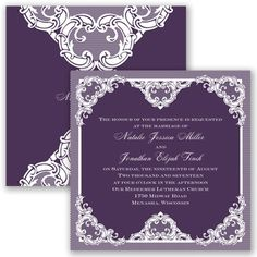 Make your wedding one of a kind with this romantic two-sided lace invitation. Shown here in Plum. #davidsbridal #invitations #weddings #purpleweddings