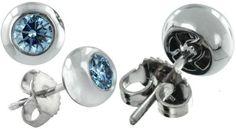 Chubby Bezel Post Blue Diamond Earrings