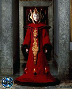 Queen Amidala wearing the Throne Room Gown in Star Wars: The Phantom Menace, and as seen in the Star Wars and the Power of Costume exhibition. Princesse Amidala, Reine Amidala, Star Wars Padme, Queen Amidala Costume, Saga, Costume Star Wars, Film Star Wars, Star Wars Design, Throne Room