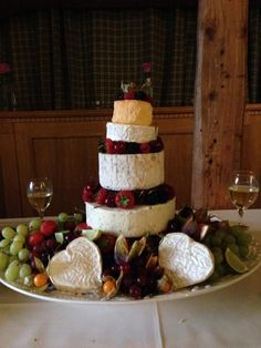 A fab cheese wedding cake tower.  Brilliant cheeses! Brilliant Wedding S. Robinson