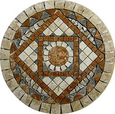 Tumbled Travertine Floor or Wall Art Medallion Mosaic Mosaic Tile Art, Mosaic Pots, Mosaic Artwork, Pebble Mosaic, Mosaic Diy, Mosaic Garden, Mosaic Crafts, Mosaic Projects, Stone Mosaic