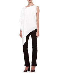 Donna Karan Matte Crepe Asymmetric Top & Structured Slim Jersey Body Pants