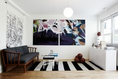 STriped rug - La maison d'Anna G. Anna, Funky Art, Striped Rug, Living Spaces, Living Rooms, Interior Inspiration, Sweet Home, Gallery Wall, Interior Design
