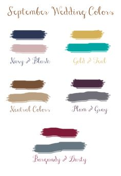 top 5 fall wedding colors for september brides 2015