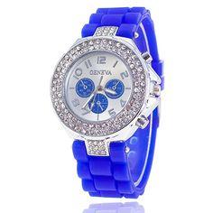 Elegantní dámské hodinky se zirkony a silikonovým páskem tmavě modré +  POŠTOVNÉ ZDARMA Na tento produkt dc1da3dbc1