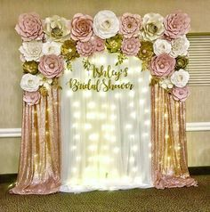 The Paper Flower House Ashleys Bridal Shower! Thank you for setting up my beautiful backdrop! Quince Decorations, Quinceanera Decorations, Altar Decorations, Wedding Decorations, Centerpieces, Gold Birthday Party, Gold Party, Girl Baby Shower Decorations, Birthday Party Decorations
