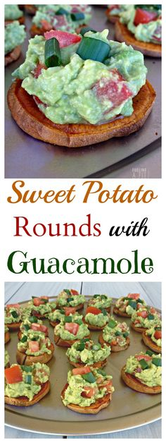 These Sweet Potato Rounds with Guacamole will be the perfect food for any party! Especially the super bowl!