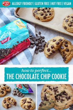Our collection of chocolate chip cookie recipes has a cookie for everyone! Whether you like them thick & chewy; soft & cakey or thin & crunchy weve got you covered. Plus weve included baking tips & tricks for making easy allergy-friendly substitutions. Vegan Desserts, Delicious Desserts, Vegan Recipes, Snack Recipes, Yummy Food, Crockpot Recipes, Baking Tips, Baking Recipes, Cookie Recipes
