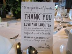 unique thank you card at the reception table