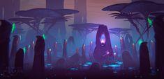 AUM swamp by Andrey Lazarev Environment Concept Art, Environment Design, Alien Worlds, Epic Art, Fantasy Setting, Inspirational Artwork, Background Pictures, Pretty Art, Fantasy World