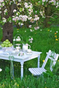 A spring meadow set for an al fresco afternoon tea with friends