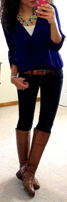 Hello, Gorgeous!: threads.~dark wash skinny...riding boots...cami...nice blouse..statement necklace