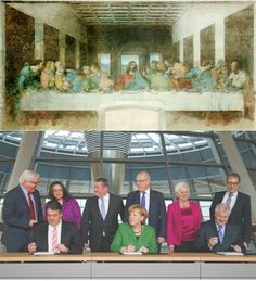 """""""Das Abendmahl"""" von Leonardo Da Vinci und die """"Unterzeichnung des Koalitionsvertrages"""" der Großen Koalition. Die Ähnlichkeiten dieser beiden..."""