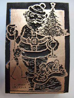 Letterpress Signed Copper Printer Block Printing Plate Santa Christmas Tree