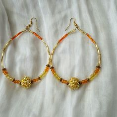 Handmade Earrings Orange Gold Handmade by local jewelry designer. One of a kind. Won't stretch your holes. Light and airy! Handmade  Jewelry Earrings