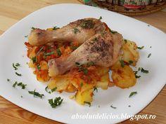 Absolut Delicios - Retete culinare: PULPE DE PUI LA CUPTOR CU CARTOFI SI SOS DE ROSII