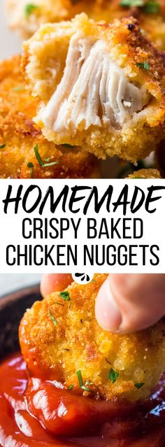 Crispy Baked Chicken Nuggets - so fun to make for the kids! They're healthy as they're baked in the oven and not fried. It's a super easy recipe, and they can even be frozen, so you can make a large batch and always have some on hand! Baby Food Recipes, Cooking Recipes, Chicken Recipes For Toddlers, Recipes Dinner, Healthy Recipes For Kids, Healthy Mcdonalds Options, Chicken Dishes For Kids, Potato Recipes, Easy Cooking For Kids