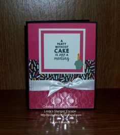#Technique:Frosted Impressions / #Birthday card using Party Wishes Stamp Set, Party Punch Pack, and It's My Party Designer Series Paper from the 2016 Stampin' Up! Occasions Catalog!  http://lindasstampinescape.com