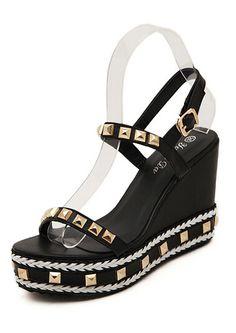Black Rivet Hidden Platform Wedge Sandals