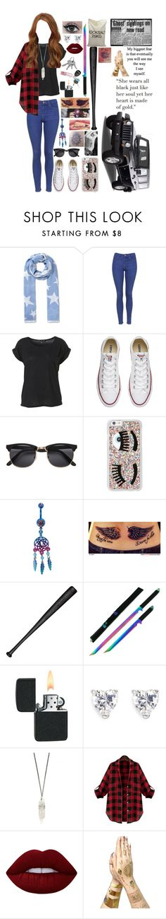 """""""Untitled #645"""" by skh-siera18 ❤ liked on Polyvore featuring STELLA McCARTNEY, Wrangler, Topshop, Converse, H&M, Chiara Ferragni, Elisabeth Weinstock, CZ by Kenneth Jay Lane, Lime Crime and Tattify"""