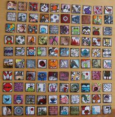 100 inchies-but sewn? Fabric Art, Fabric Crafts, Diy Crafts, Pinturas Disney, Mini Canvas Art, Collaborative Art, Pocket Letters, Artist Trading Cards, Small Art
