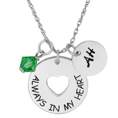 Buy Sterling Silver Memorial Sentiment Initial & Birthstone Charm Necklace at Limoges