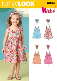 New Look 6066 Child's Dress With Trim Variations And Headband. Lengthen for Maxi Dress.