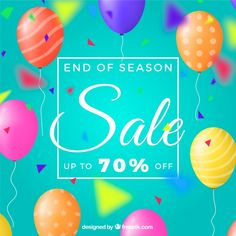 Sale background with balloons  in realistic style Free Vector