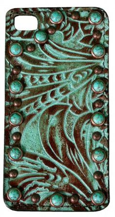 Turquoise Brandy/Western Floral Print Leather iPhone Case by Double J Saddlery