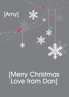 """HelloTurtle Christmas Cards """"String hearts & Snowflakes"""" personalised card Personalise and send this Christmas card to someone you care about. Same day despatch on orders received before (Mon-Fri) Merry Christmas Love, Personalised Christmas Cards, Snowflakes, Hearts, Custom Christmas Cards, Merry Little Christmas, Personalized Christmas Cards, Snow Flakes"""