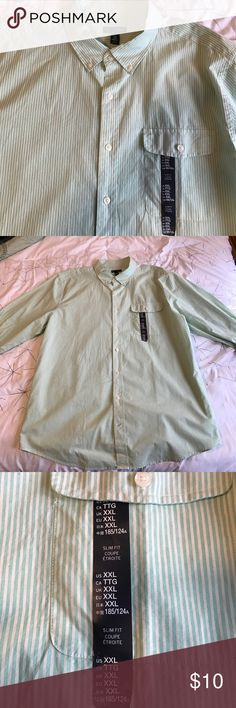 Men's Gap button down shirt. Gap size XXL. Brand new with tags (although the hang tag is missing). Green and cream striped. Slim fit (runs small). GAP Shirts Casual Button Down Shirts