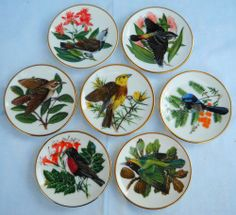 Earthenware - 7x FRANKLIN PORCELAIN-Songbirds of the World-Display Plates