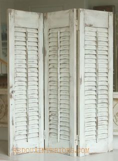 how to paint old shutters and use for decor, design d cor, painting, repurposing upcycling, Estate Sale treasures I found several sets of plain wood shutters Gave them a new look with a blend of CeCe Caldwells Nantucket Spray and Vintage White