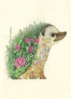 turquoise hedgehog art drawing painting - Google Search