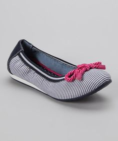 Girls Tommy Hilfiger navy and white flats on sale today for $19.99 normally $36