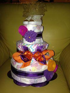 3-Tier Diaper cake! Purple, Gold & Orange.